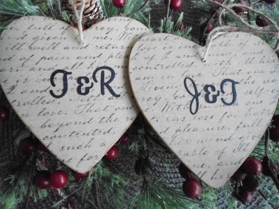 2 Couple Christmas ornaments,his and her initials, TWO gifts, first Christmas together, engagement gift, personalized heart ornament