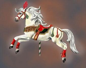 Little Joe the Circus Pony -Palomino Pinto Horse Carousel Fine Art cards
