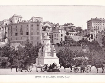 1898 Architecture Photograph - Statue of Columbus Genoa Italy - Vintage Antique Art Print History Great for Framing 100 Years Old