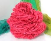 Handspun Art Yarn 'Candy Apple Corona' Mohair Wrap Yarn
