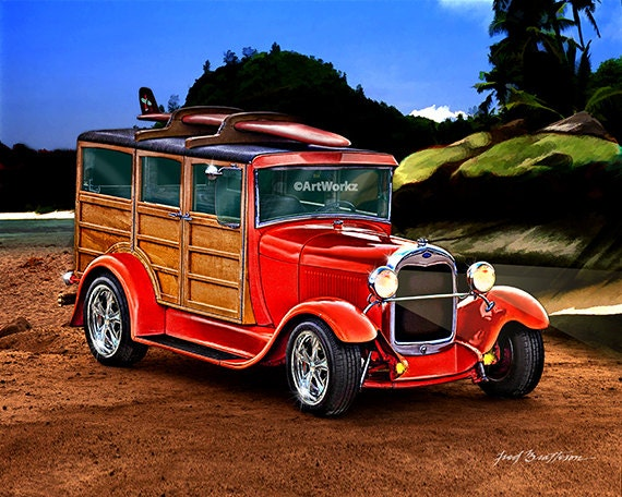 1929 Model A Ford Woody Hot Rod Art Classic Car Print 8 X