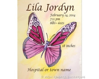 Butterfly New Baby PERSONALIZED Announcement Art Print 8x10