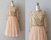 Champagne Toast dress / vintage 1970s beaded dress / silk chiffon 70s dress