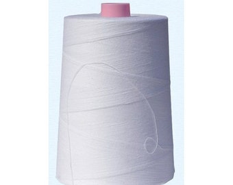 American & Efird, 100% Cotton Sewing Thread 12,000 Yard Cone- White- Made in USA (1cone/pack)
