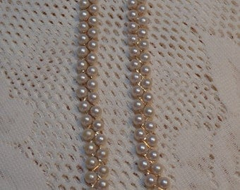 Vintage Avon Pearl Double Strand Necklace Jewelry