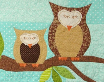 owls baby quilt in blue green and brown how by moonspiritstudios. Black Bedroom Furniture Sets. Home Design Ideas