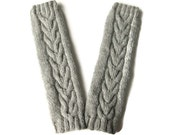 Womens Leg Warmers, Knit Boot Cuffs, Boot Accessories, Light Grey Wool, Horseshoe Cables, Ready To Ship