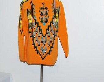 Vintage Sweater Tribal Aztec Ski Print