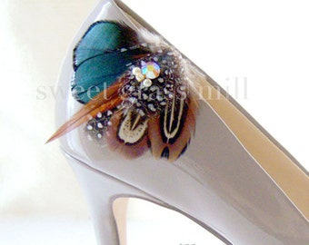 Pheasant Feather Shoe Clips - PEMBERLEY Shoe Clips