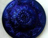 LG Czech Glass Button - Black Glass Medallion Style Floral Button W/ Midnight Luster
