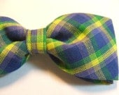 Blue Yellow Plaid New Pretied Bow Tie Adjustable Neckband Men Boys Handcrafted Bowtie Gustys
