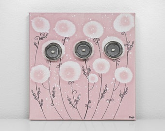 Baby Girl Nursery Art - Pink and Gray Canvas Flower Painting - Small 10x10