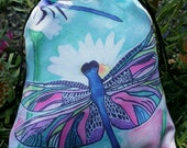 Dragonfly Drawstring Pouch - Dragonflies art - Dragonfly Purse - Daisy art - Tarot Bag - Silky Pouch - Dragonfly Artwork