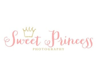 Gold Logo Gold Glitter Logo Blush Pink Logo Crown Logo Princess Logo Photography Logo Newborn Photographer Logo Boutique Logo Bowtique Logo