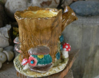 Fairy  House Ceramic  Tree Stump  House Miniature  Little Clay Ceramic Glazed ..terrarium  Home - Gnomes can live here too