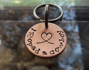 Cowboy love, I Roped a Cowboy keychain