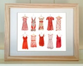 """Limited Edition Print- Fiery Patterns Red Dress Collection (UNFRAMED, 11"""" x 14"""")"""
