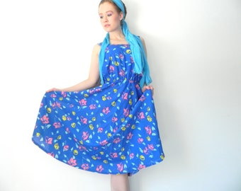 Hibiscus Full Skirt Vtg Cotton Swing Dress // Tropical Floral Dress (Medium)