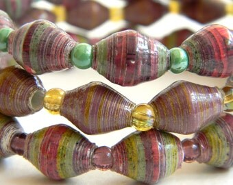 Paper Bead Jewelry - Bracelets - 8 inches - Set of 3 - #242