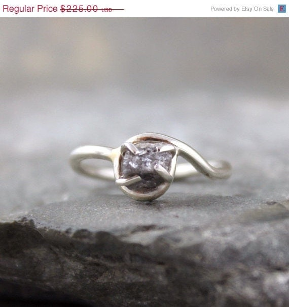MAY SALE Raw Diamond Ring Sterling Silver By ASecondTime