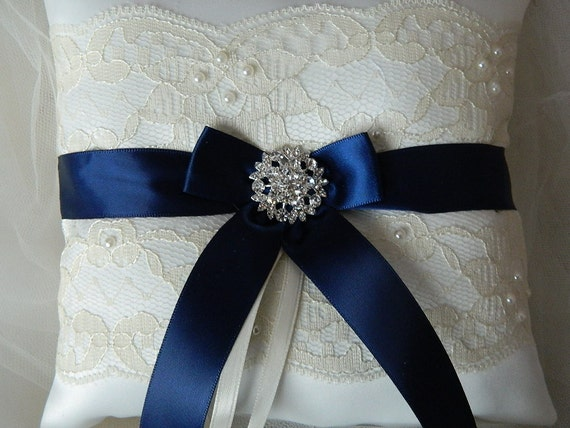 Wedding Ring Bearer Pillow Navy Blue And Ivory By
