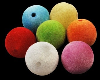 Multicolored Fuzzy Felt Beads - 22mm - 6 piece