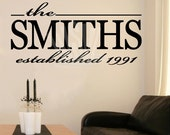 Custom Last Name Year Vinyl Lettering Family Wall Sayings Home Art Decor wall decal sticker