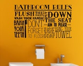 Bathroom Rules Subway Collage flush wash brush vinyl lettering wall decal quote sticker