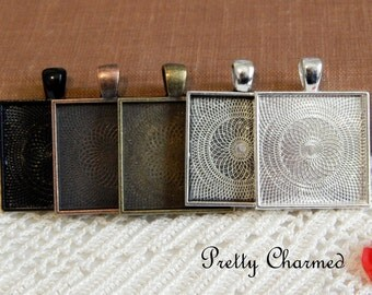 100 Pendant Trays - 1 Inch Square Choice of Silver, Antique Bronze, Antique Copper Blank Bezels Cabochon Settings