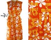 1960s Mod Hawaiian Aloha Dress - Bright Orange and Yellow Print A Line by Lord & Taylor - size Large