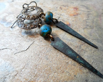 Czech Glass, Filigree and Patinaed Brass Rustic Dangle Earrings