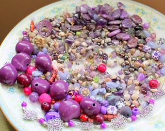 HUGE 13.6 oz Destash Bead Mix Vintage Amethyst Stone Genuine Pearl Shell Purple