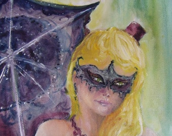 Free Shipping Painting Steam Punk Girl Purple Blond Original Oil Masquerade Parasol
