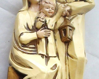 """Vintage Ceramic Joseph  Mary and Baby Jesus  Nativity Figurine Christmas Large 11"""" X 5"""" made in Japan by STAR comp. 1960s"""