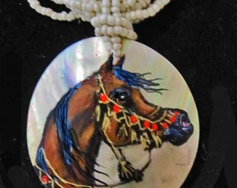 Arabian horse art handpainted necklace on Mother of pearl bay3