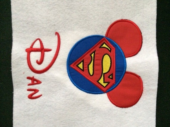 Mickey Mouse Superhero T Shirt Applique Embroidered By
