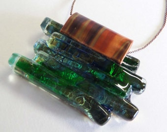 Upcycled Window Glass Green and Blue Necklace - CUSTOM MADE ITEM