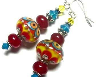 Southwest Earrings Lampwork Earrings Handmade Earrings, Red Earrings, Artisan Earrings, Colorful Earrings, Glass Earrings, Handmade Jewelry,