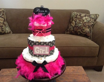 Born to shop princess diaper Cake Baby Shower Centerpiece Hot Pink and Black Diaper Cake other styles and colors available