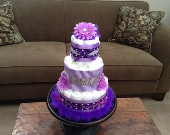 Purple Diva Diaper Cake Baby Shower Centerpiece  other styles and colors available