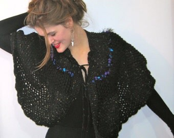BASIADESIGNS Beautiful Hand Crochet Black Tweed and multi fleck Cape - Free U.S. Shipping