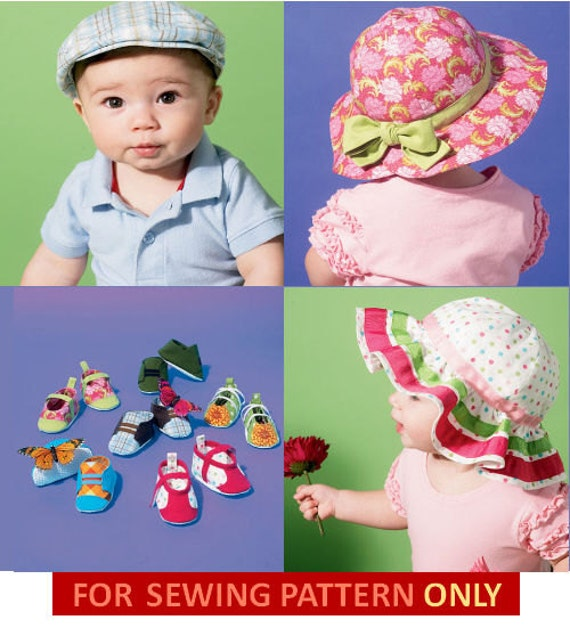 SHOE - HAT PATTERN For Baby Boys and Girls / Six Style Hats With Matching Shoes