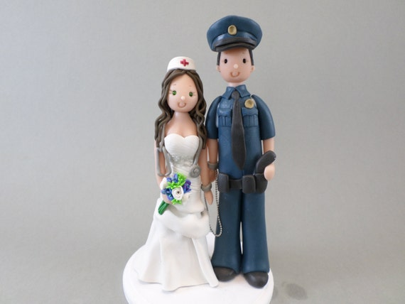 police officer and nurse wedding cake topper custom handmade officer and wedding cake topper 18671