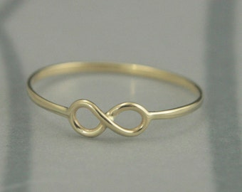 Solid 14K Yellow Gold Handmade Infinity Band--Hand Made Petite Solid  Gold Infinity Symbol Ring--Friendship Ring--Maid of Honor Gift