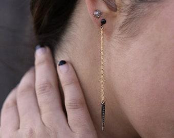 Pave Diamond Spike Earrings