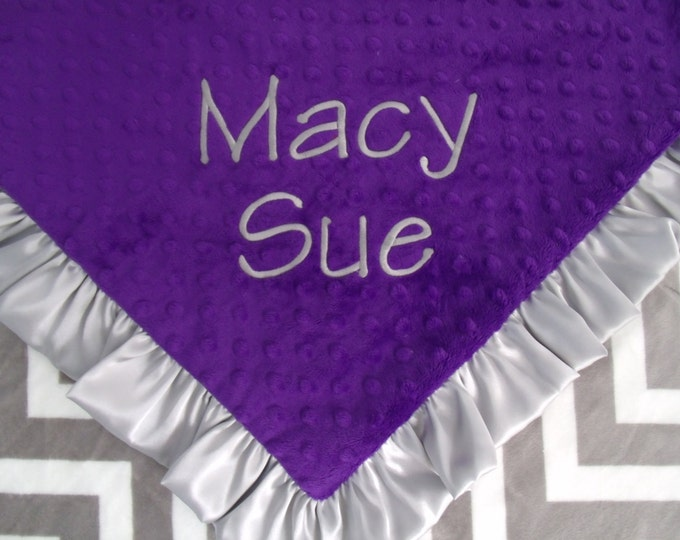 Grey Chevron and Purple  Minky baby BlanketCan Be Personalized