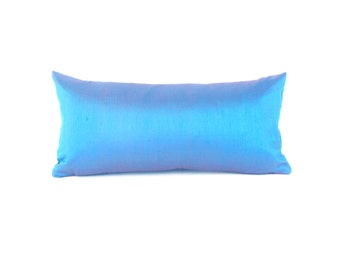 Blue Silk Lumbar Pillow - Small Blue Silk Pillow - Blue Throw Pillow - Sky Blue Pillow