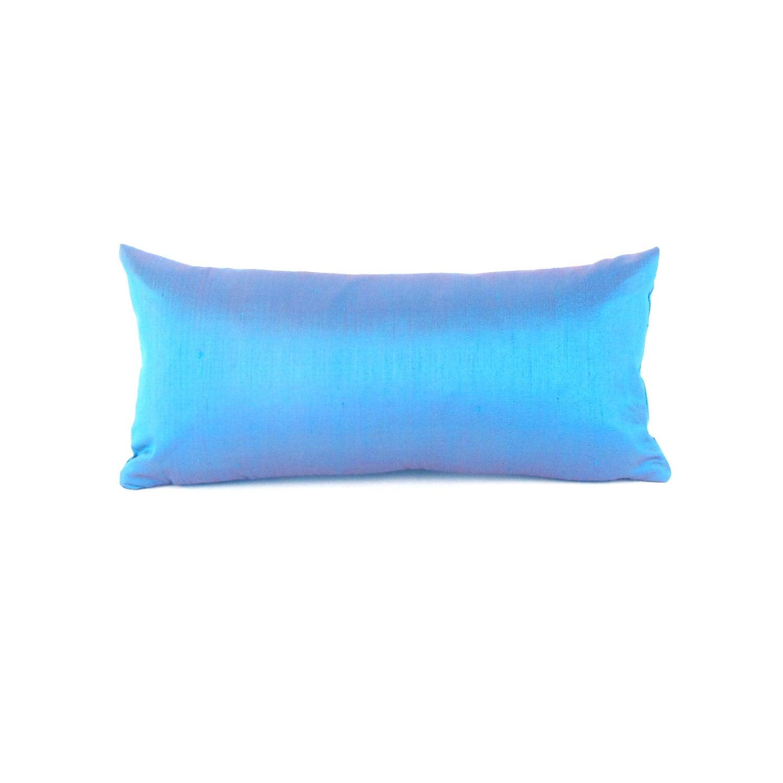 blue silk lumbar pillow small blue silk pillow blue throw