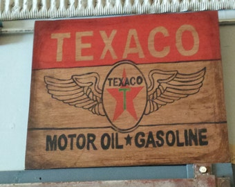Texaco Oil Gas Hand Painted wood sign