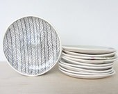Ceramic Herringbone Patterned Canape/Dessert Plate - Made to Order